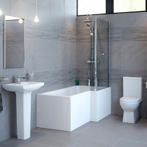 Modena™ Right Hand Square Whirlpool Shower Bath Suite