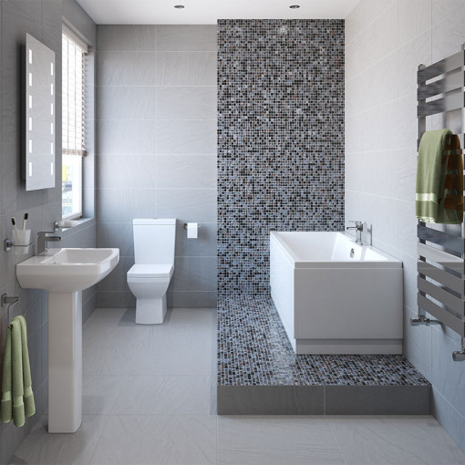 Tabor™ 1600 Shower Bath & 460mm Two Piece Suite with Quadra Taps