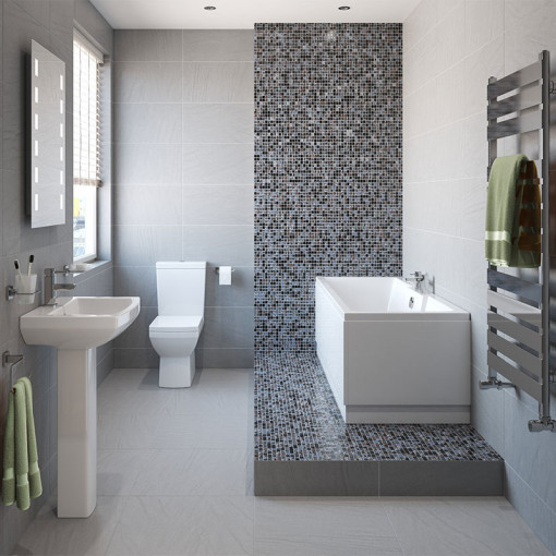 Tabor™ 1500 Shower Bath & 460mm Two Piece Suite with Form Taps