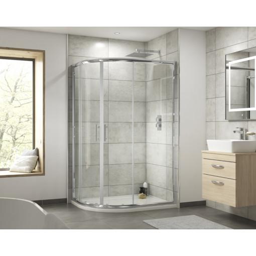 Aquafloe™ 6mm 900 x 760 Offset Sliding Door Quadrant Enclosure & Right Hand Tray with Maine Suite