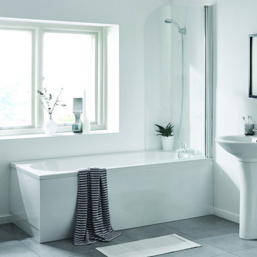 AquaLine™ 1700 x 700 Standard Shower Bath with Front Panel & 6mm Hinged Screen