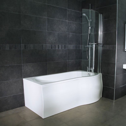 Whirlpool 1675 x 850 Right Hand P-Shaped Shower Bath with 6 Jets & Curved Screen
