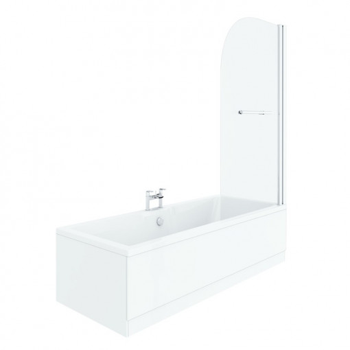 Voss 1500 x 700 Right Hand Straight Shower Bath with 6mm Hinged Screen