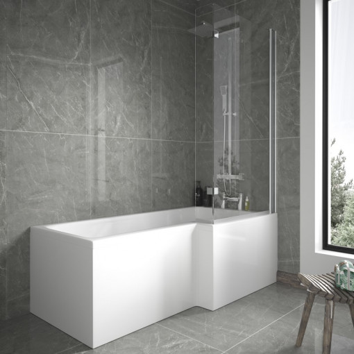 1600mm Right Hand L-Shaped Shower Bath with 6mm Glass Shower Screen