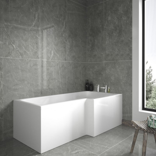 1700mm Right Hand L-Shaped Shower Bath