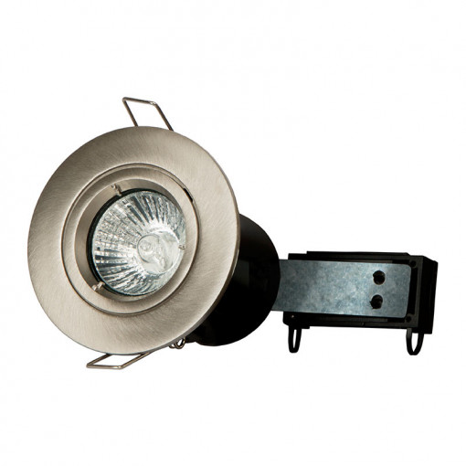 6 Pack - Fixed Fire Rated Downlight - Brushed Steel Twist & Lock