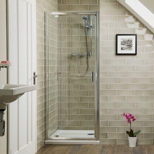 Aqualine™ 6mm 800 x 800 Pivot Enclosure with Shower Tray