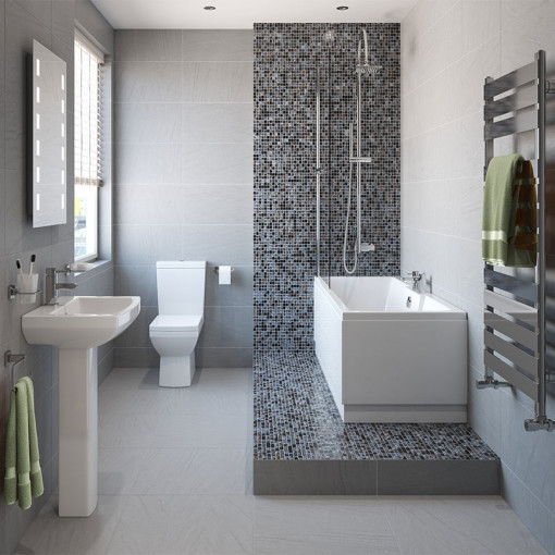 Tabor™ 1400 Shower Bath & 560mm Two Piece Suite with Form Taps