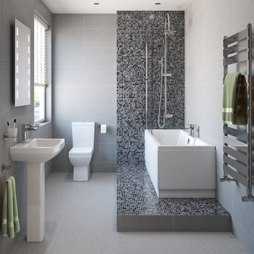 Tabor™ 1600 Shower Bath & 560mm Two Piece Suite with Tabor™ Taps