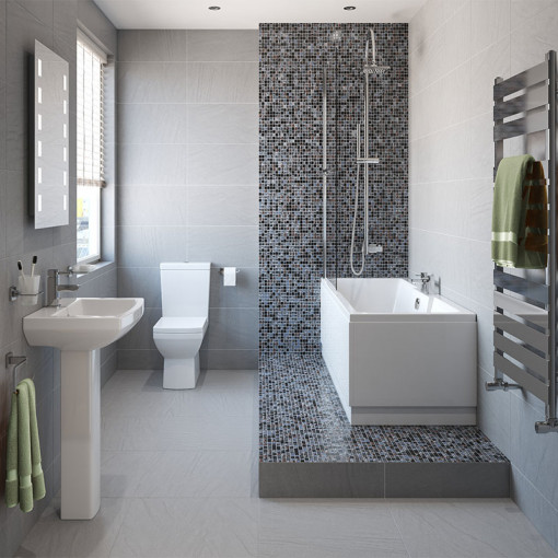 Tabor™ 1700 x 750 Shower Bath & 560mm Two Piece Suite with Form Taps
