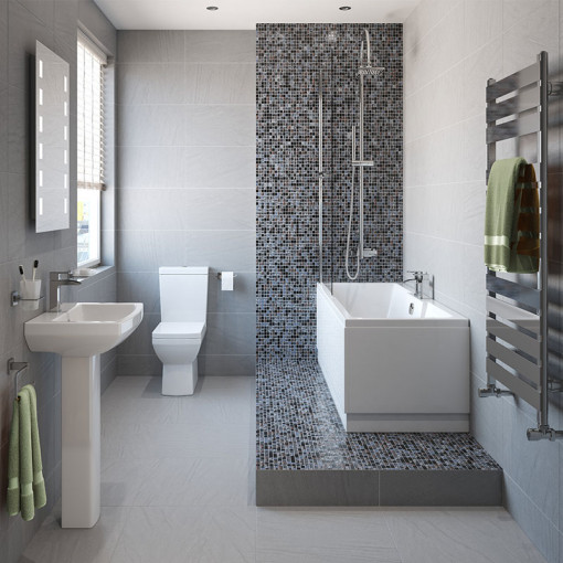 Tabor™ 1400 Shower Bath & 460mm Two Piece Suite with Tabor™ Taps