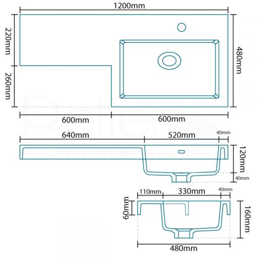 Tabor™ 120cm Walnut Right Hand Combination Unit