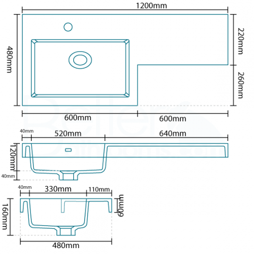 Tabor™ 120cm White Left Hand Combination Unit