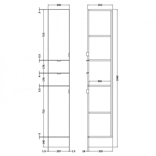 Austin 300mm Grey Avola Tall Storage Unit