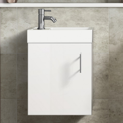 Ashford Cloakroom Grey 400 Wall Hung Vanity Unit with Premier Freya Close Coupled Toilet & Seat