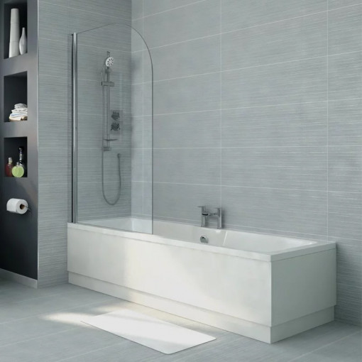 Voss 1500 x 700 Left Hand Straight Shower Bath with 6mm Hinged Screen
