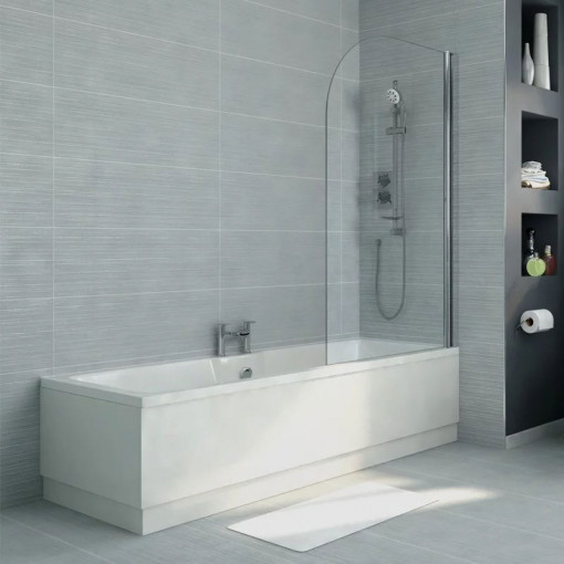 Voss 1700 x 750 Right Hand Straight Shower Bath with 6mm Hinged Screen