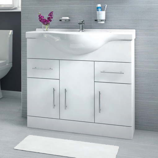 Windsor™ 85 White Vanity Basin Unit