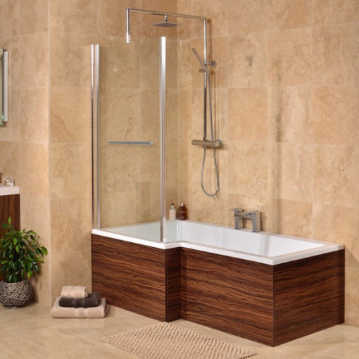 Salou Left Hand Square Whirlpool Shower Bath Suite