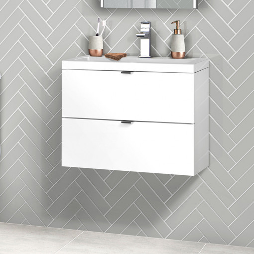 Austin 600mm White Gloss Wall Hung Two Drawer Vanity Unit