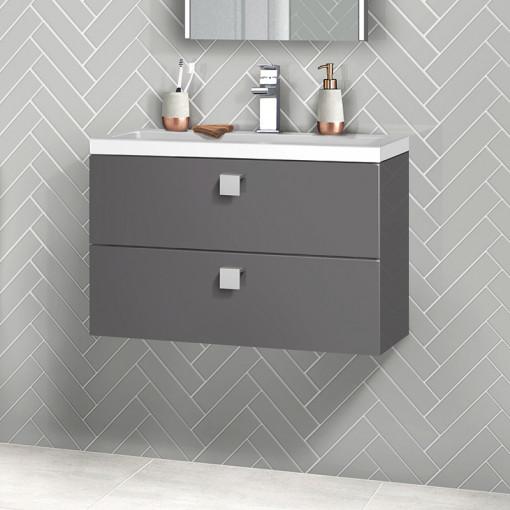 Austin 800mm Grey Gloss Wall Hung Two Drawer Vanity Unit