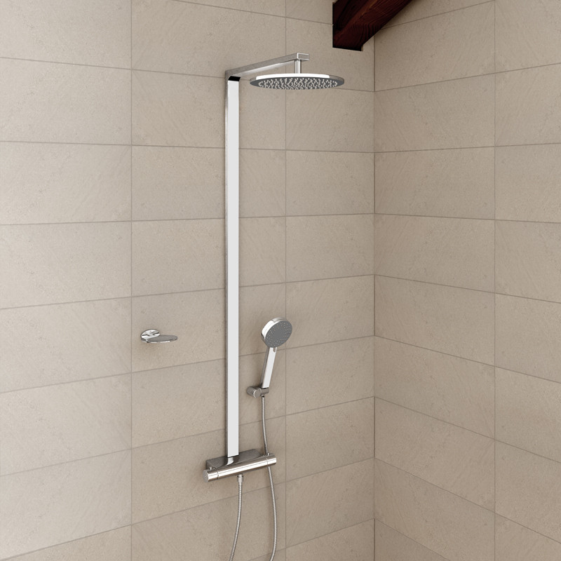 montroc premium rigid riser shower rail kit with dual valve