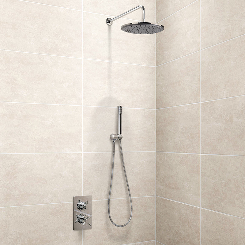 Round 250mm Cool To Touch Shower Kit With Handheld: EcoStyle Dual Valve With Handset, 250mm Shower Head, Wall