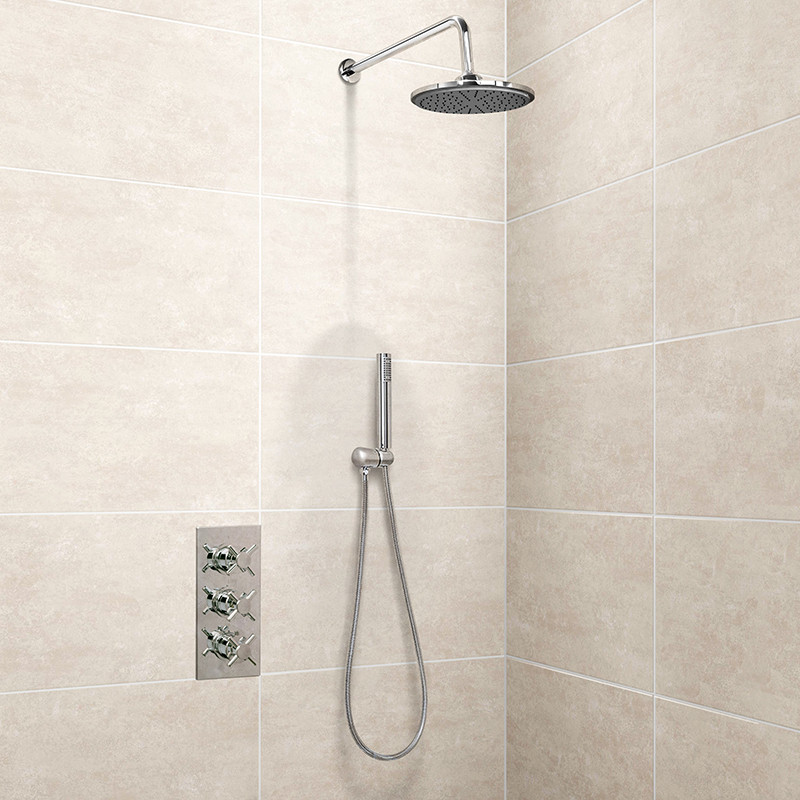 EcoStyle Triple Valve with Handset, 250mm Shower Head, Wall Outlet ...