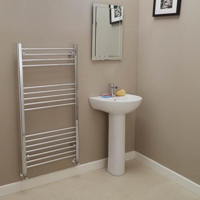 Eco Heat 1200 X 600 Straight Chrome Heated Towel Rail