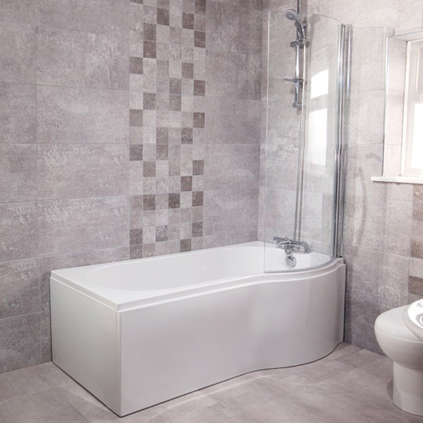 Whirlpool 1500 X 850 Right Hand P Shaped Shower Bath With 6 Jets Curved Screen