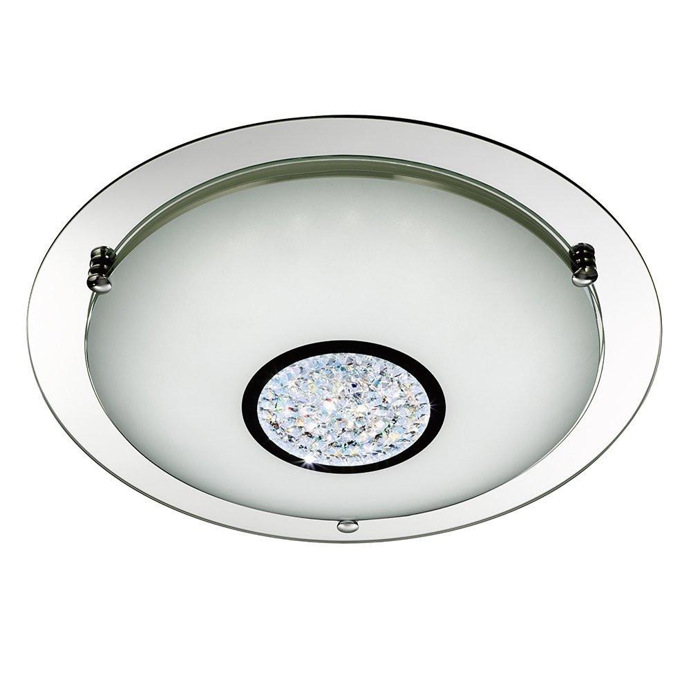 Mirrored led chrome glass large flush ceiling light aloadofball Images