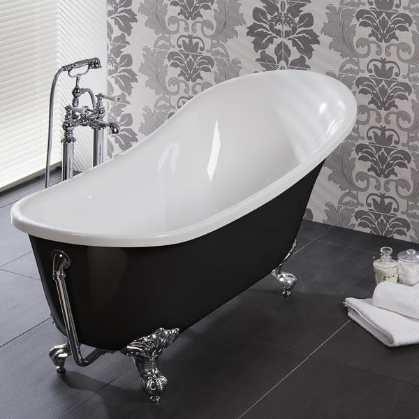 Lunar Black 1620 X 730 Luxury Slipper Bath