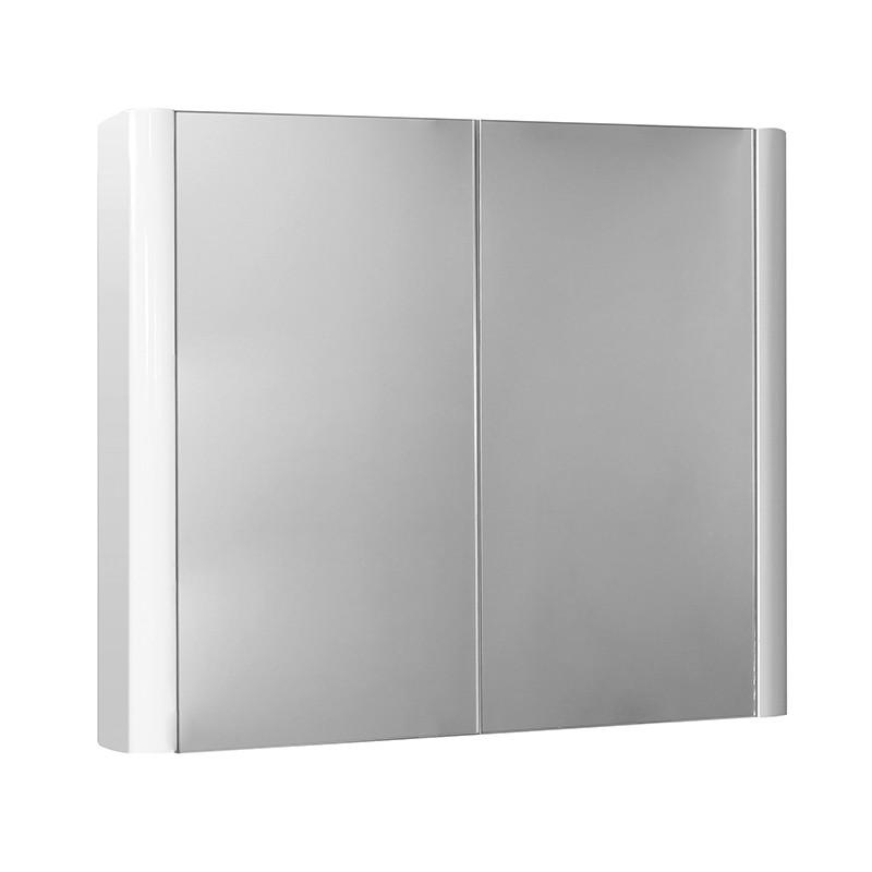 Voss 750 double door mirror cabinet 650 h 750 w 130 d for Bathroom cabinet 750