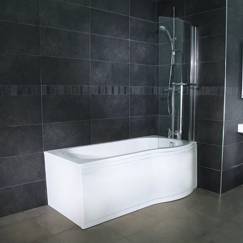 Whirlpool 1700 x 850 Right Hand P-Shaped Shower Bath with 11 Jets ...