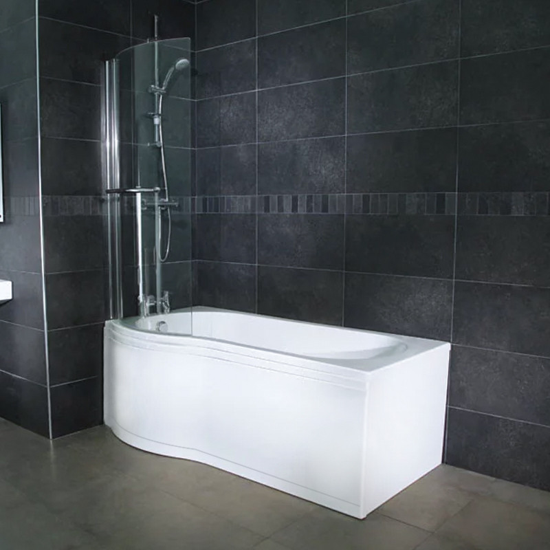 Hydrotherapy 1650 x 850 Left Hand P-Shaped Shower Bath with Curved ...