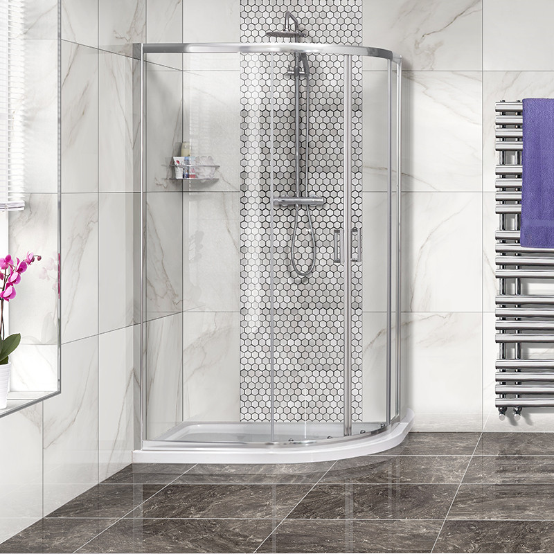 Aqualine™ 1200 x 900 Offset Right Hand Shower Cubicle with Tray