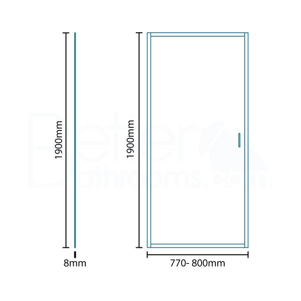 Beta Heat Electric 1150 X 600mm Curved Chrome Heated Towel: Aquafloe™ Iris 8mm 800 Hinged Shower Enclosure