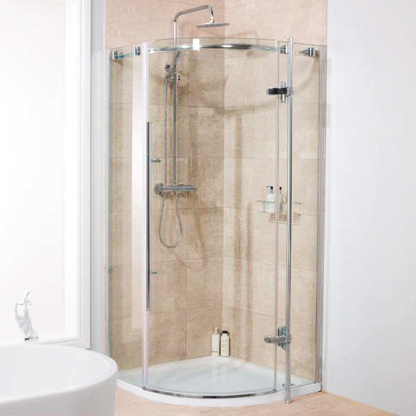 Alora 6mm 800 x 800 frameless hinged door quadrant shower for Door quadrant
