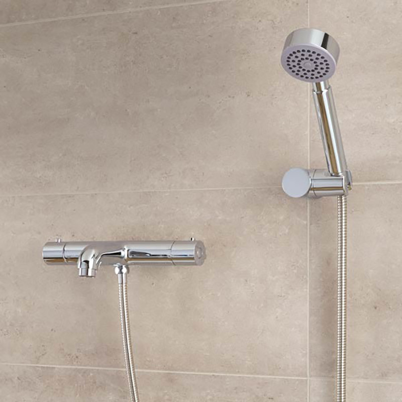 Thermostatic Wall Mounted Bath Shower Mixer with Rail Kit
