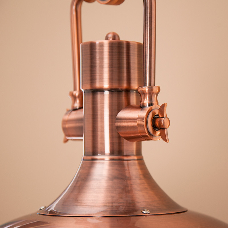 Industrial Antique Copper Pendant Light With Frosted Diffuser
