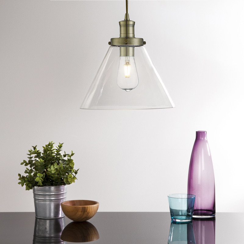 Pyramid antique brass pendant light with clear glass shade aloadofball Choice Image