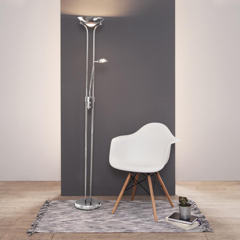 Double chrome floor lamp with dimmer for Chrome floor lamp dimmer