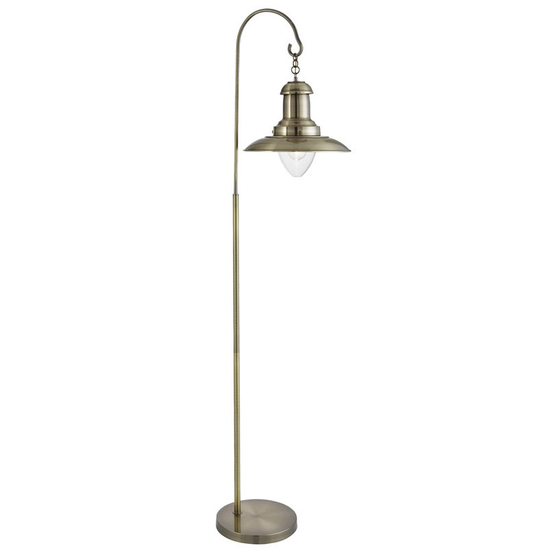 Fisherman Antique Brass Floor Lamp With Clear Glass Shade