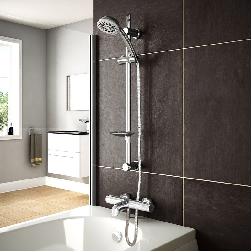 Slide Shower Rail Kit with Eco Focus Thermostatic Bath Mixer