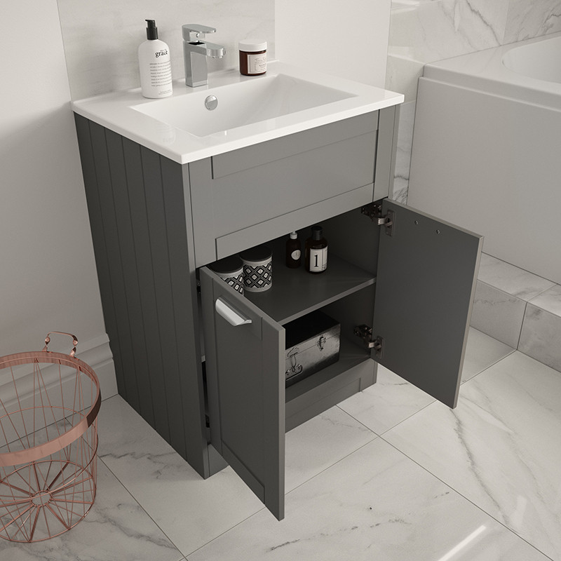 Nottingham Grey 600 Vanity Unit