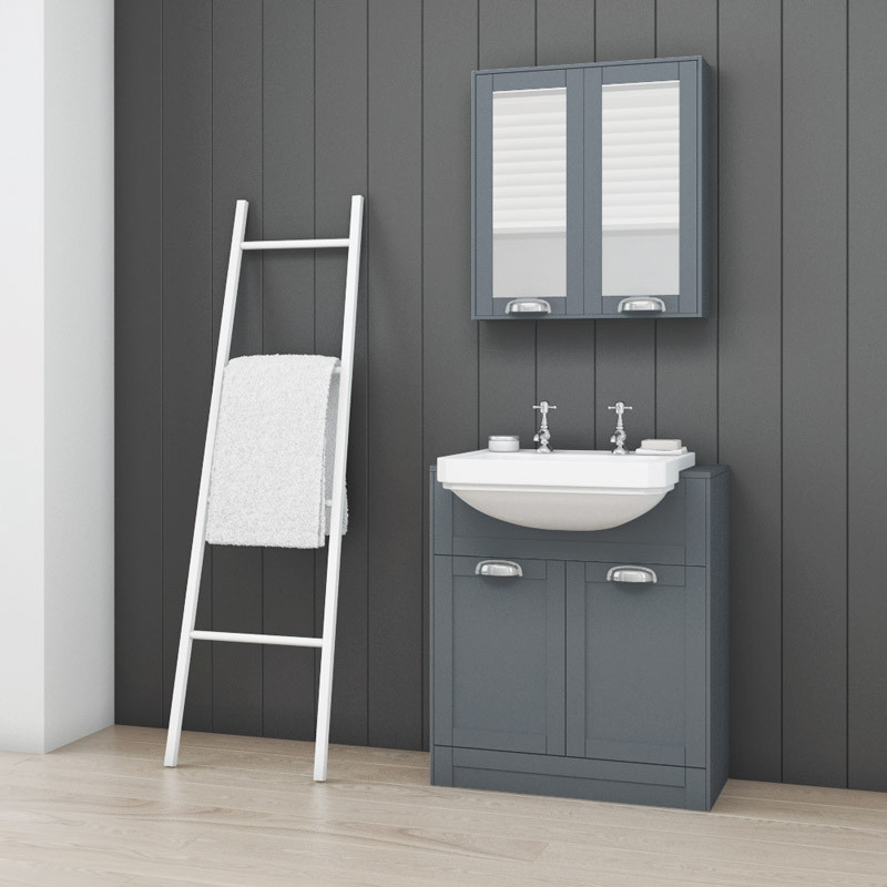 Nottingham Grey Semi Inset 48 Tap Hole Vanity Unit Extraordinary Inset Bathroom Cabinets Interior