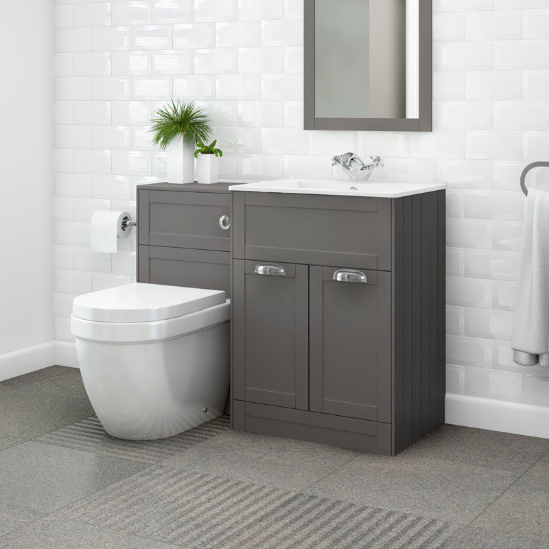 Nottingham 600 grey combination unit with aurora back to for Bathroom unit ideas