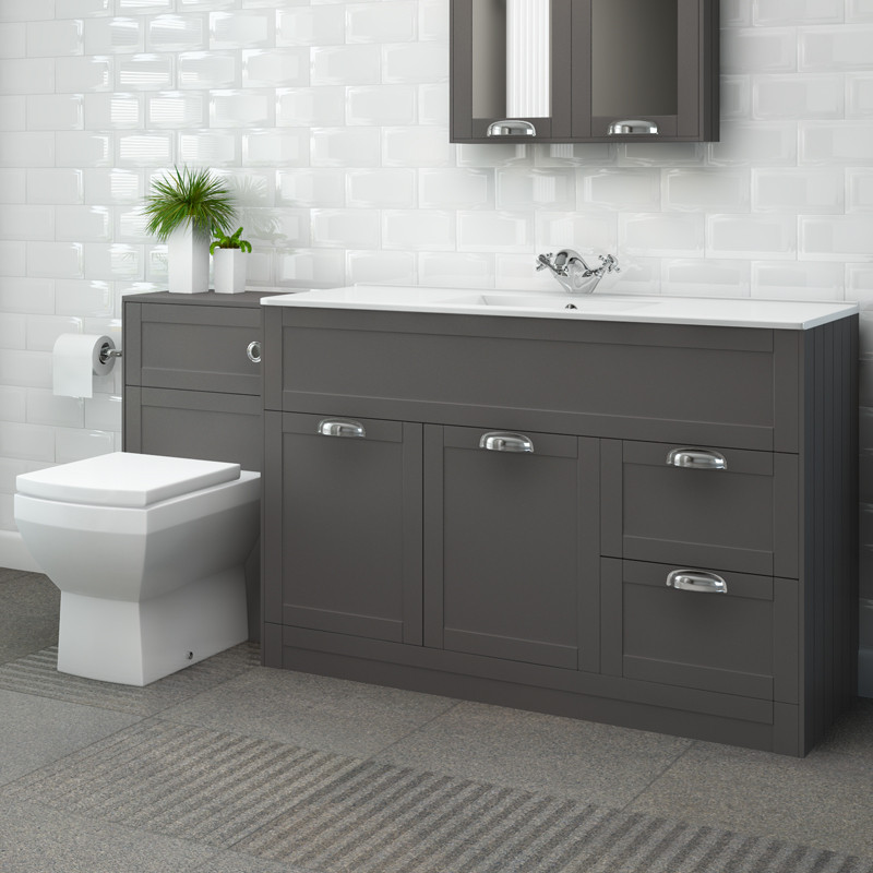 Nottingham 1000 grey combination unit with tabor back to - Bathroom combination vanity units ...