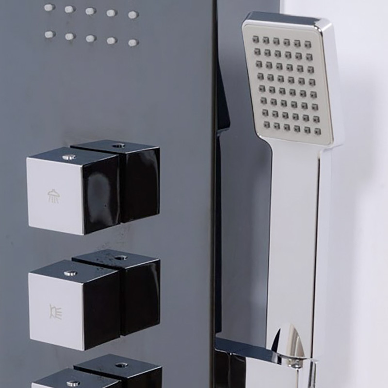 bathroom and kitchen tiles aspire black thermostatic shower tower panel 15505