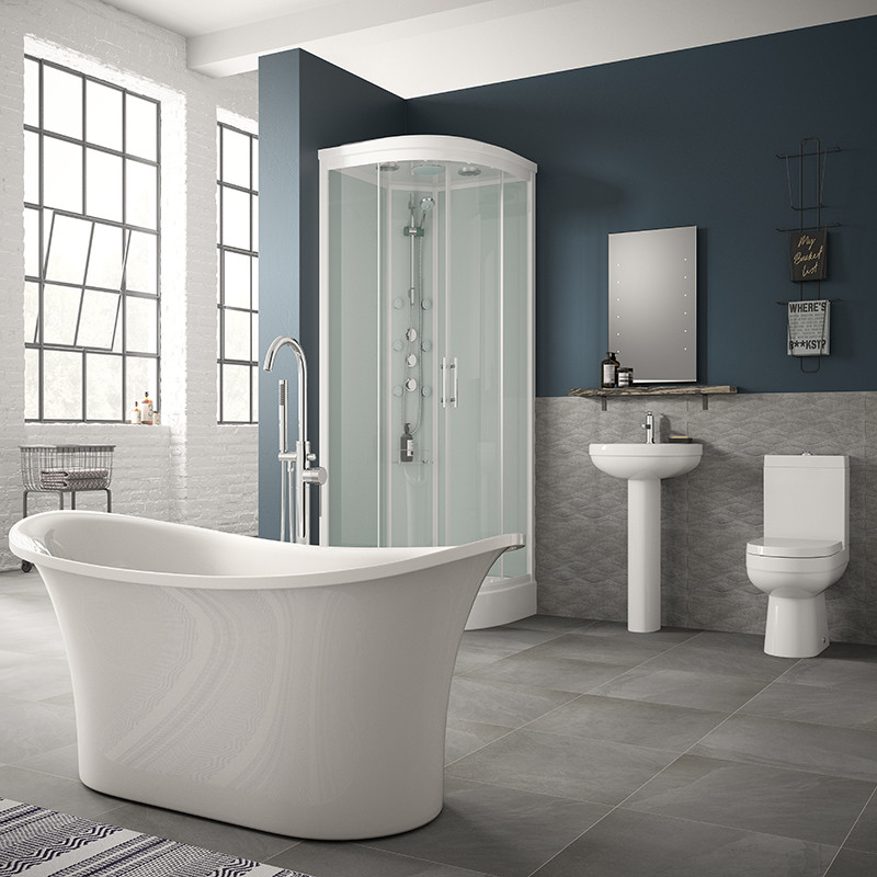 Torrelino Freestanding Bath And Shower Cabin Complete Bathroom Suite